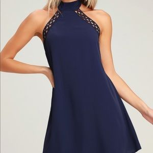 Navy blue halter swing dress